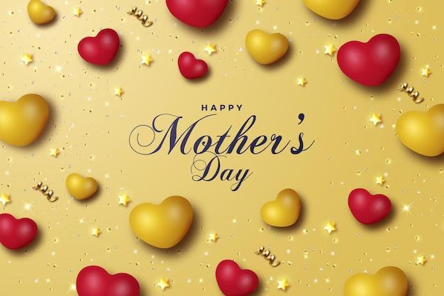 Carte de fête des mères avec coeurs et petite carte étoile.
