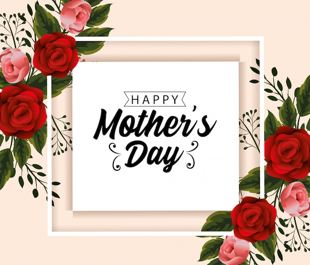 Carte de fête des mères avec fleurs plantes et feuilles