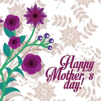 Carte de fête des mères de fleurs violettes