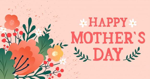 Carte de fête des mères avec des fleurs