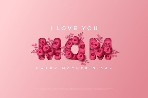 Carte de fête des mères avec floral formant les lettres mom.