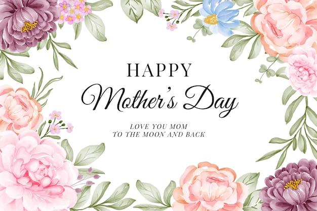 Carte de fête des mères heureuse avec une belle fleur aquarelle