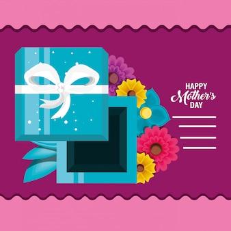 Carte de fête des mères heureuse avec des fleurs et des cadeaux