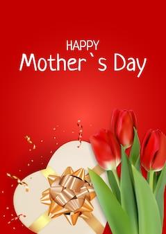 Carte de fête des mères heureuse avec des fleurs de tulipe réalistes.