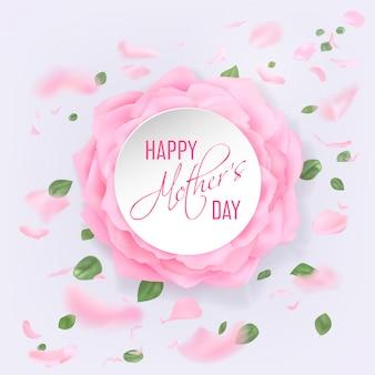 Carte de fête des mères heureuse avec roses
