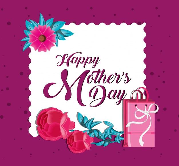 Carte de fête des mères heureuse avec sac shopping et fleurs