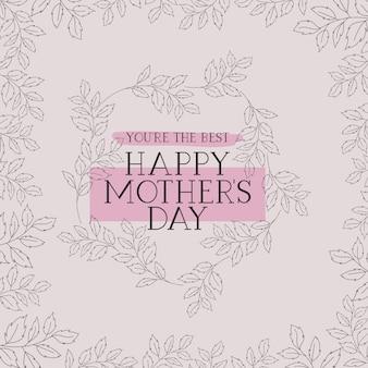 Carte de fête des mères heureux avec cadre carré d'herbes