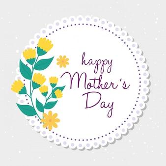 Carte de fête des mères heureux et cadre circulaire avec décoration de fleurs