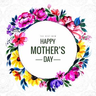 Carte de fête des mères heureux avec cadre circulaire de fleurs