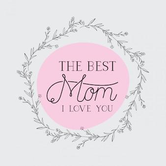 Carte de fête des mères heureux avec cadre circulaire d'herbes