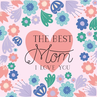Carte de fête des mères heureux avec cadre coeur d'herbes