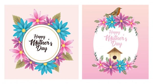 Carte de fête des mères heureux avec cadre floral oiseau et oiseau domestique