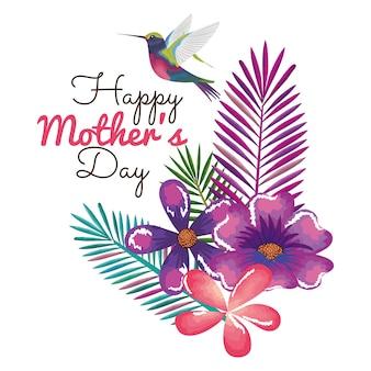 Carte de fête des mères heureux avec colibri et décoration florale
