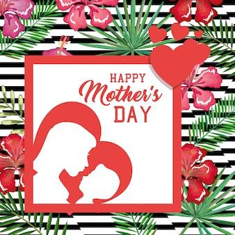 Carte de fête des mères heureux avec décoration florale