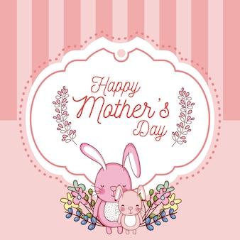 Carte de fête des mères heureux avec des dessins animés de lapins mignons