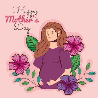 Carte de fête des mères heureux avec femme enceinte et décoration de fleurs vector illustration design