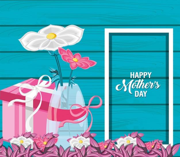 Carte de fête des mères heureux avec des fleurs dans un vase