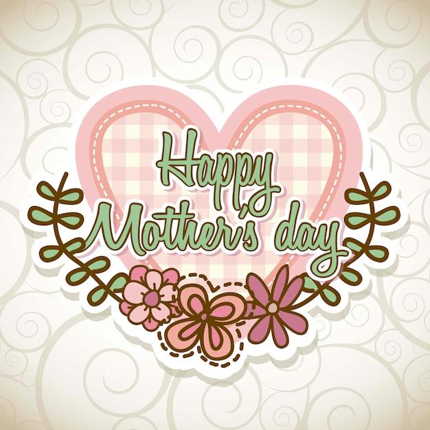 Carte de fête des mères heureux avec fleurs vector illustration