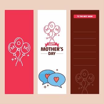 Carte de fête des mères avec logo d'amour et vecteur thème rose