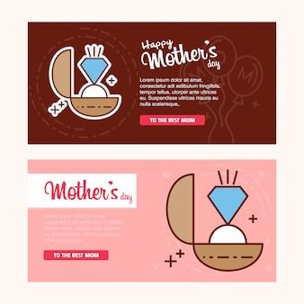 Carte de fête des mères avec logo de l'anneau et vecteur de thème rose