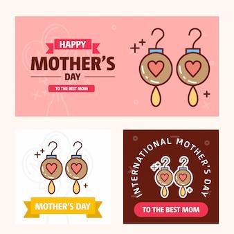 Carte de fête des mères avec logo de boucles d'oreilles et vecteur de thème rose