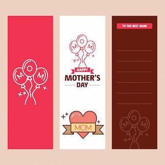 Carte de fête des mères avec logo coeur et vecteur de thème rose