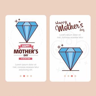 Carte de fête des mères avec logo de diamant et vecteur thème rose