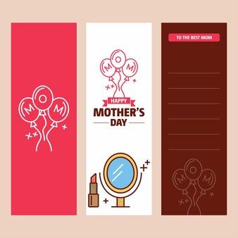 Carte de fête des mères avec logo féminin et vecteur thème rose