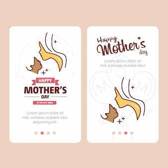 Carte de fête des mères avec logo femme et vecteur thème rose