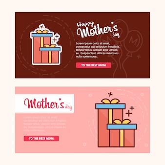 Carte de fête des mères avec logo de giftbox et vecteur de thème rose