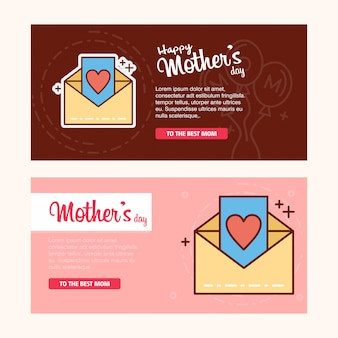 Carte de fête des mères avec logo de lettre et vecteur de thème rose