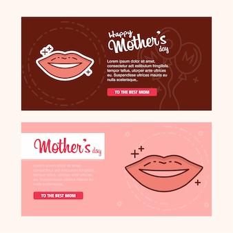 Carte de fête des mères avec logo lèvres et vecteur thème rose