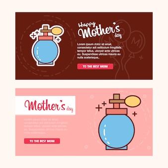 Carte de fête des mères avec logo de parfum et vecteur de thème rose