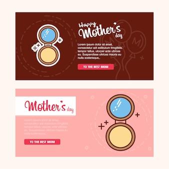 Carte de fête des mères avec logo poudre visage et vecteur thème rose