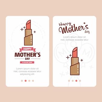 Carte de fête des mères avec logo rouge à lèvres et vecteur de thème rose