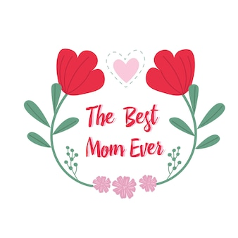 La carte de fête des mères. maman et sa fille avec des fleurs. la meilleure carte de maman de tous les temps.