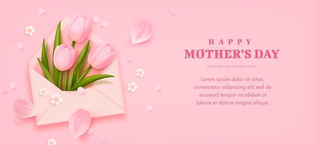 Carte de fête des mères avec des tulipes