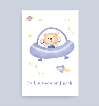 Carte de fête de naissance avec un joli ours en peluche sur la lune