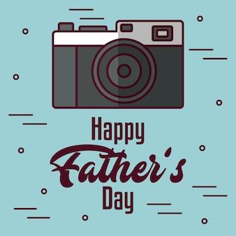 Carte de fête de père heureux avec l'icône de l'appareil photo