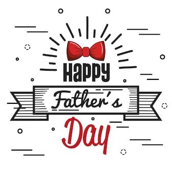 Carte de fête de père heureux avec ruban et noeud papillon rouge
