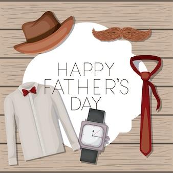 Carte de fête des pères avec accessoires