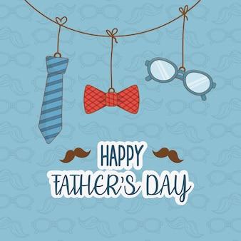 Carte de fête des pères heureuse avec accessoires suspendus