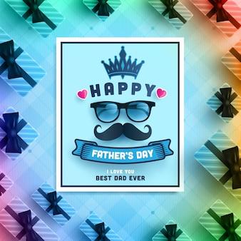 Carte de fête des pères heureuse avec boîte-cadeau sur fond bleu.