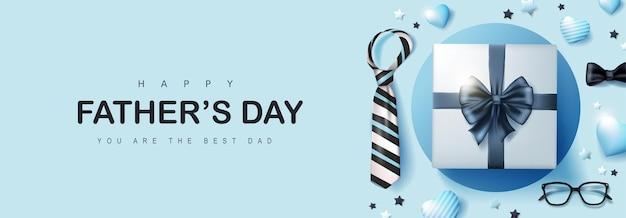 Carte de fête des pères heureuse avec boîte-cadeau pour papa sur bleu