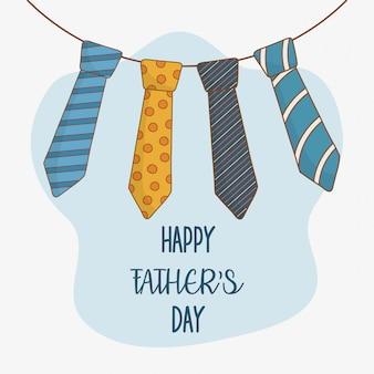 Carte de fête des pères heureuse avec cravates suspendues