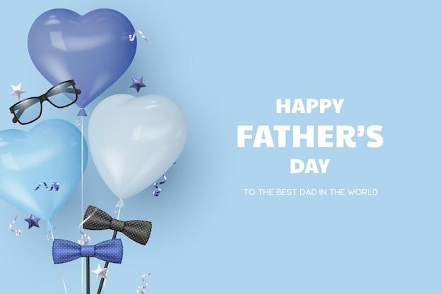 Carte de fête des pères heureuse avec des lunettes, un noeud papillon et des ballons coeur.