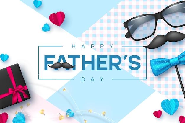 Carte de fête des pères heureuse avec lunettes, noeud papillon, moustache, coffret cadeau et coeurs.