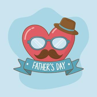 Carte de fête des pères heureuse avec moustache et lunettes