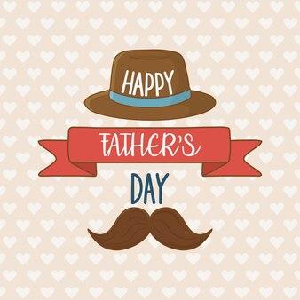 Carte de fête des pères heureuse avec moustache