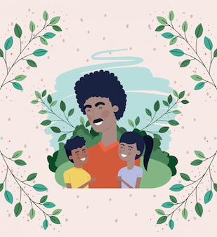 Carte de fête des pères heureuse avec papa noir et enfants